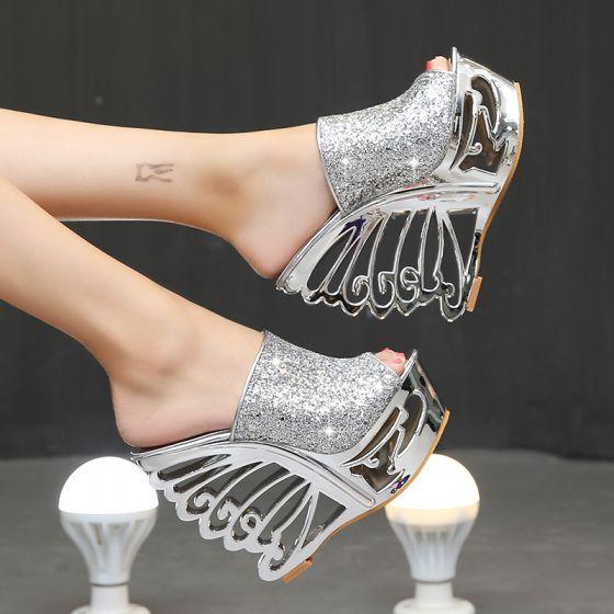 Amazing / Unique Silver Evening Party Womens Sandals 2020 Metal Sequins 15 cm Wedges Open / Peep Toe Sandals