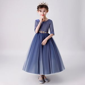Chic / Beautiful Navy Blue Flower Girl Dresses 2019 Ball Gown Scoop Neck 1/2 Sleeves Glitter Polyester Metal Sash Ankle Length Ruffle Wedding Party Dresses