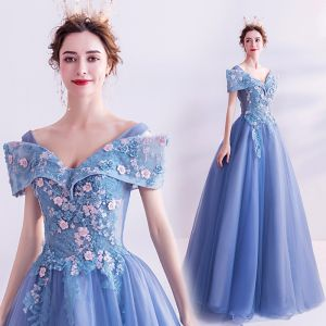 Flower Fairy Pool Blue Prom Dresses 2020 A-Line / Princess V-Neck Pearl Lace Flower Short Sleeve Backless Floor-Length / Long Formal Dresses
