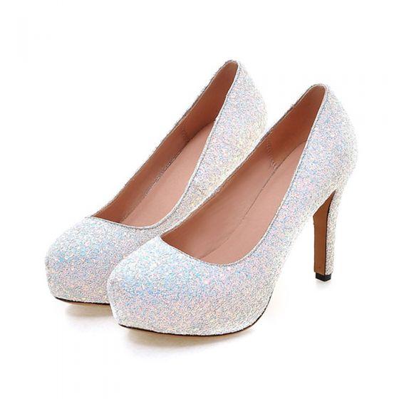 Sparkly Prom Pumps 2017 PU Glitter Platform Round Toe High Heel Pumps