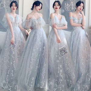 Affordable Grey Bridesmaid Dresses 2020 A-Line / Princess Short Sleeve Backless Appliques Lace Sequins Floor-Length / Long Ruffle