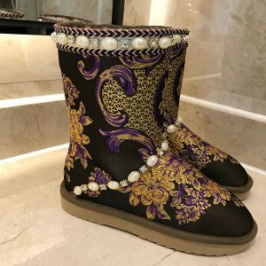 Modern / Fashion Snow Boots 2017 Black Leather Mid Calf Beading Pearl Embroidered Casual Winter Flat Womens Boots