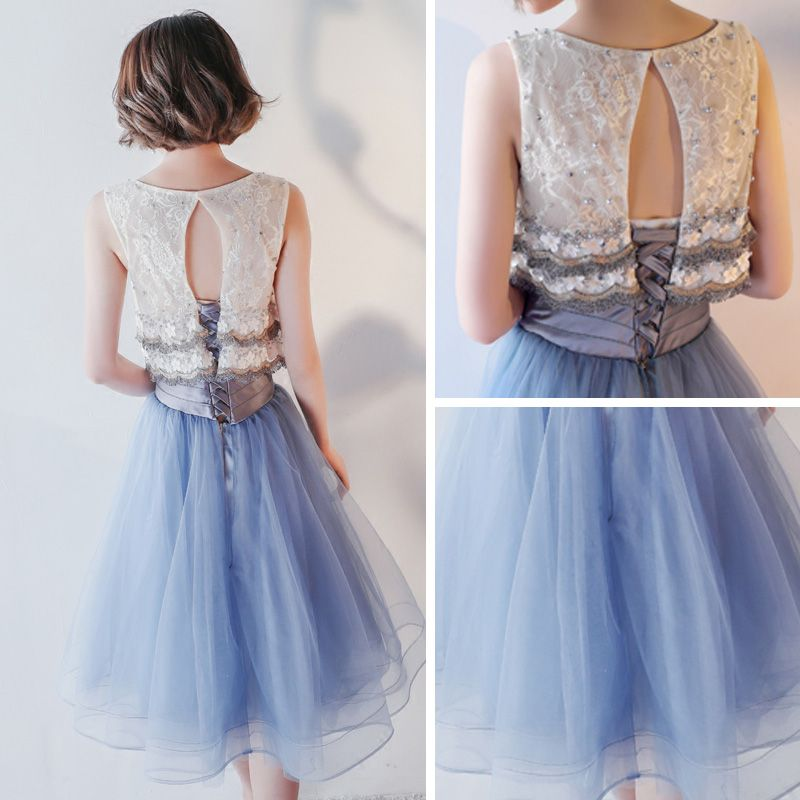 Chic / Beautiful Formal Dresses 2017 Party Dresses Graduation Dresses Ink Blue A-Line / Princess Knee-Length Scoop Neck Sleeveless Backless Lace Appliques Pearl Tassel