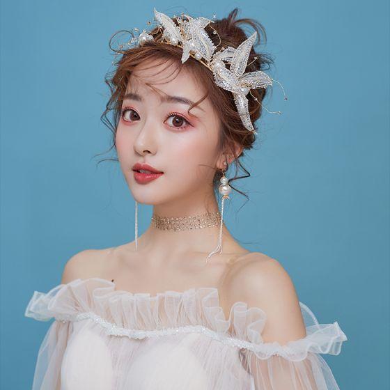 Mooie / Prachtige Goud Bruidssieraden 2020 Legering Kralen Parel Kwast Oorbellen Hair Hoop Haaraccessoires Huwelijk Accessoires