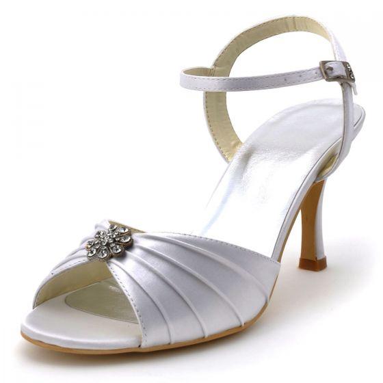 Fold White Satin Surface Treatment Toe High-heeled Party Shoes Diamond Wedding Shoes