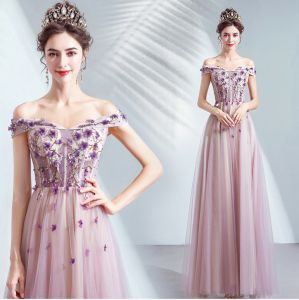 Chic / Beautiful Purple Prom Dresses 2020 A-Line / Princess Off-The-Shoulder Beading Crystal Appliques Lace Flower Sleeveless Backless Floor-Length / Long Formal Dresses