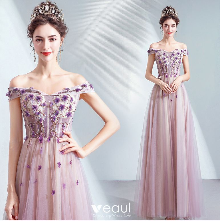 great deals 2017 100% top quality classic style Chic / Beautiful Purple Prom Dresses 2020 A-Line / Princess Off ...