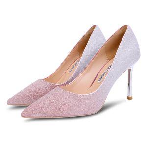 Brillante Rosa Clara Zapatos de novia 2018 Glitter 8 cm Stilettos / Tacones De Aguja Punta Estrecha Boda Tacones