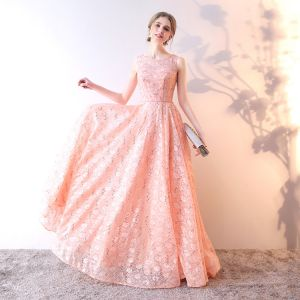 Chic / Beautiful Pearl Pink Evening Dresses  2019 A-Line / Princess Scoop Neck Sequins Lace Flower Sleeveless Floor-Length / Long Formal Dresses