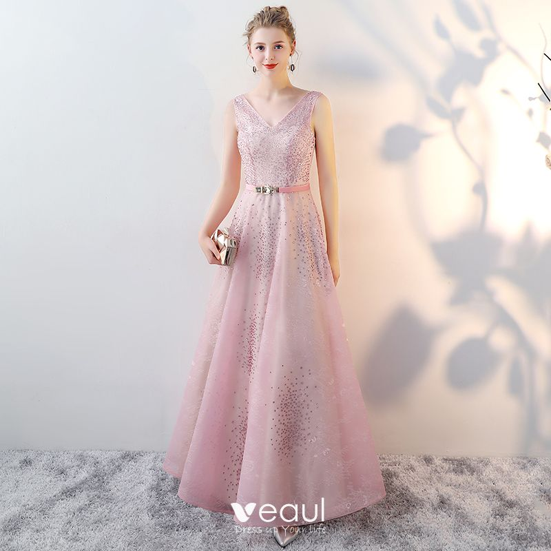 Schöne Rosa Abendkleider 2017 A Linie V Ausschnitt Ärmellos