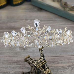 Mooie / Prachtige Goud Metaal Accessoires 2018 Kristal Rhinestone Tiara Bruidssieraden