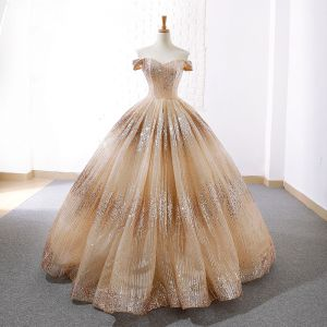 Sparkly Champagne Dancing Prom Dresses 2020 Ball Gown Off-The-Shoulder Short Sleeve Sequins Floor-Length / Long Backless Formal Dresses