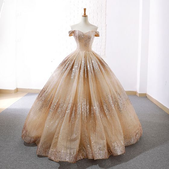 Sparkly Champagne Dancing Prom Dresses 2020 Ball Gown Off-The-Shoulder Short Sleeve Sequins Floor-Length / Long Backless Formal Dresses