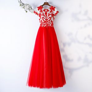 Chic / Beautiful Red Prom Dresses 2019 A-Line / Princess Scoop Neck Lace Flower Beading Short Sleeve Floor-Length / Long Formal Dresses