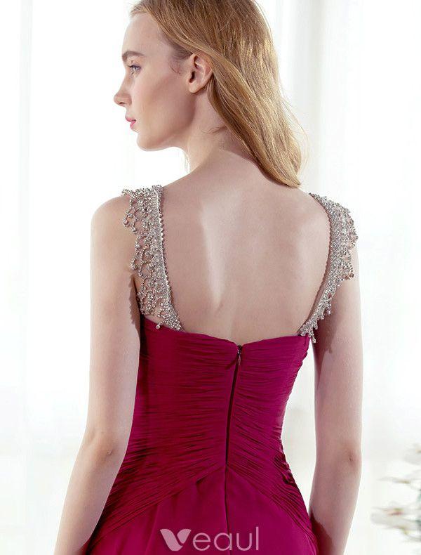 Beautiful Evening Dress Beading Rhinestones Neck Ruffle Fuchsia Chiffon Dress