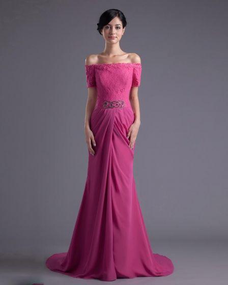 Mode Chiffon Spitze Perlen Off-schulter-boden Länge Celebrity Dress