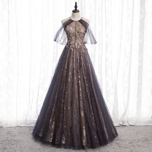 Charming Black Gold Glitter Prom Dresses 2020 A-Line / Princess Scoop Neck Beading Crystal Sequins Sleeveless Backless Floor-Length / Long Formal Dresses