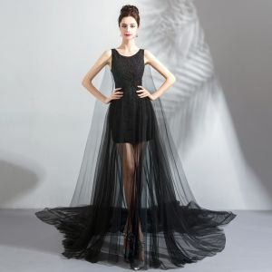 Modern / Fashion Black See-through Summer Evening Dresses  2019 A-Line / Princess Scoop Neck Sleeveless Appliques Lace Pearl Watteau Train Ruffle Formal Dresses