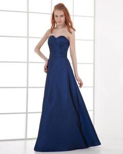 Mode Taft Falten Schatz Bodenlangen Brautjungfernkleider