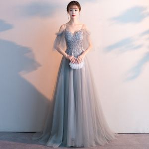 Elegant Grey Evening Dresses  2019 A-Line / Princess Spaghetti Straps Beading Crystal Short Sleeve Backless Sweep Train Formal Dresses