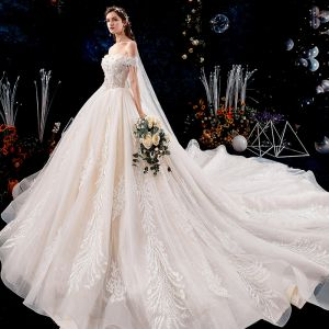 Charming Champagne Wedding Dresses 2019 A-Line / Princess Off-The-Shoulder Beading Tassel Pearl Lace Flower Appliques Short Sleeve Backless Royal Train