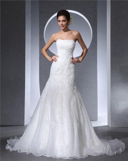 Bretelles Etage Longueur Satin Tulle Plisse Femme Une Robe De Mariée En Ligne