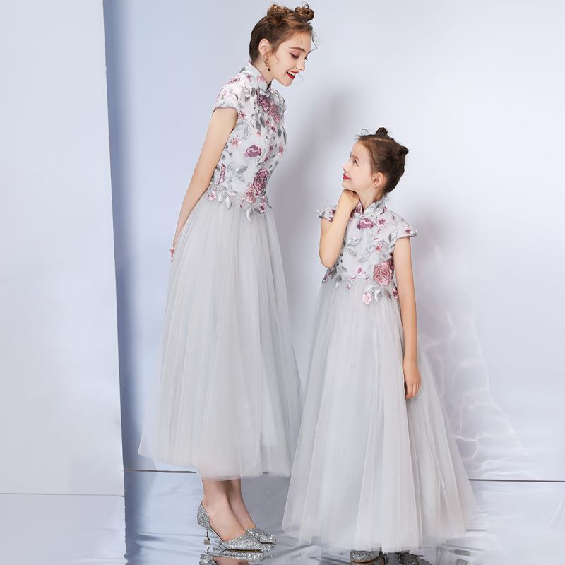 Chinese style Grey Evening Dresses  2019 A-Line / Princess High Neck Cap Sleeves Embroidered Flower Rhinestone Ankle Length Ruffle Formal Dresses