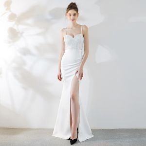 Charming Ivory Evening Dresses  2019 Trumpet / Mermaid Spaghetti Straps Rhinestone Sleeveless Backless Split Front Floor-Length / Long Formal Dresses