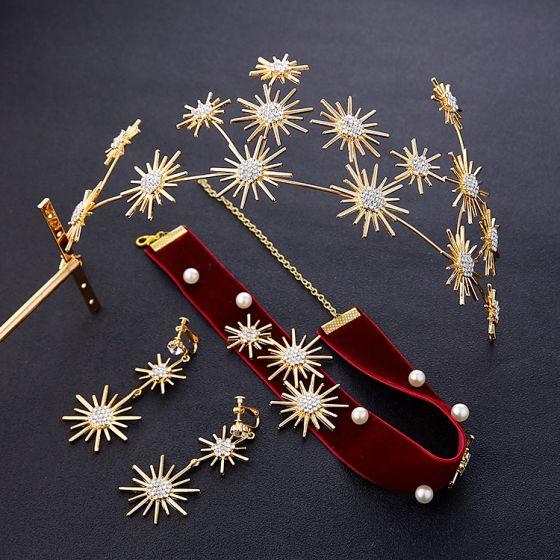 Chic / Beautiful Gold Bridal Jewelry 2019 Metal Tiara Earrings Burgundy Necklace Rhinestone Wedding Accessories