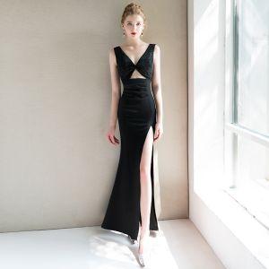 Moderne / Mode Sexy Noire Robe De Soirée 2019 Trompette / Sirène V-Cou Sans Manches Perlage Fendue devant Longue Dos Nu Robe De Ceremonie