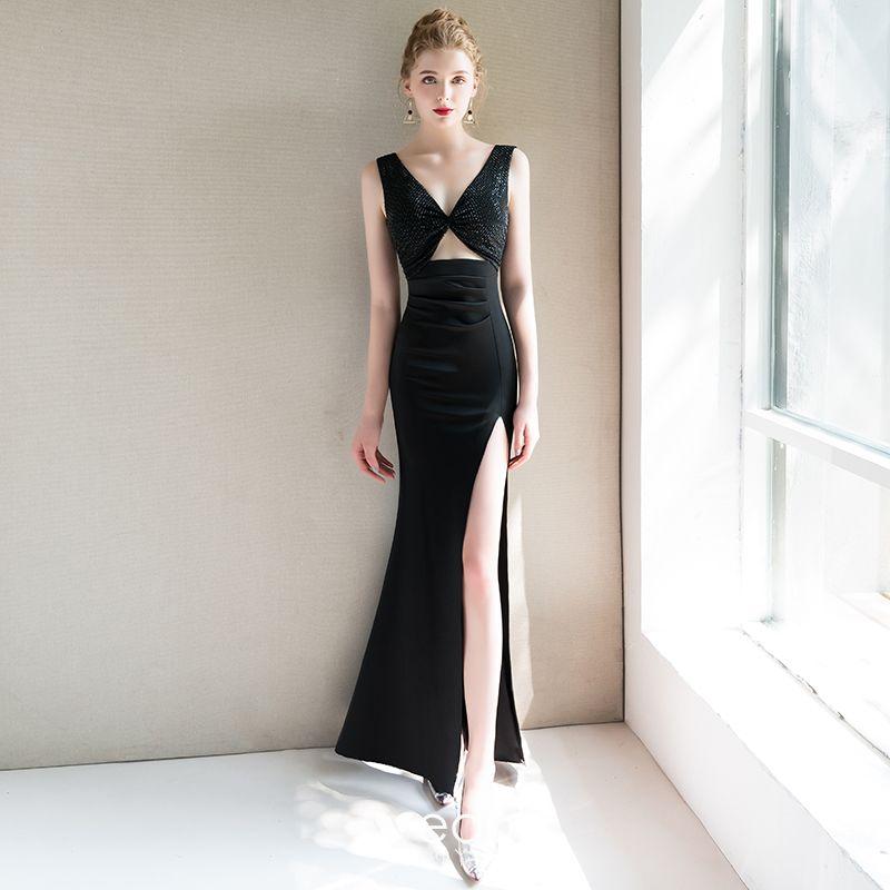 1e5c967448a Moderne   Mode Sexy Noire Robe De Soirée 2019 Trompette   Sirène V-Cou Sans  Manches Perlage Fendue devant Longue ...