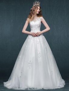 A-line Fyrkantig Ringning Applikationer Spets Beading Strass Organza Bröllopsklänning