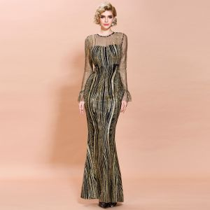 Chic / Beautiful Black Gold See-through Evening Dresses  2020 Trumpet / Mermaid Scoop Neck Long Sleeve Bell sleeves Appliques Sequins Floor-Length / Long Formal Dresses