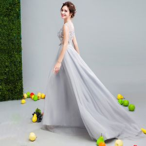 Chic / Beautiful Grey Evening Dresses  2017 A-Line / Princess U-Neck Tulle Appliques Backless Beading Evening Party Formal Dresses