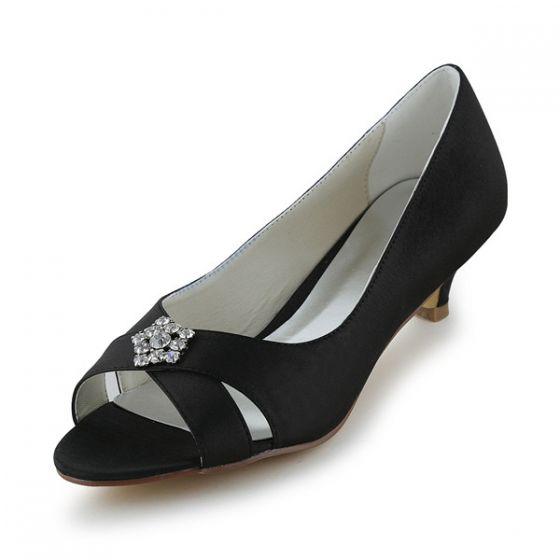 Chic Peep Toe Zwart Satijn Kitten Heels Pumps Schoenen Met Strass