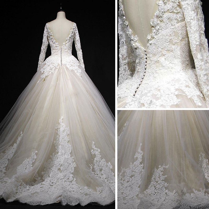 Classic Champagne Winter Wedding Dresses 2018 Ball Gown See-through Scoop Neck Long Sleeve Backless Appliques Lace Cathedral Train Ruffle