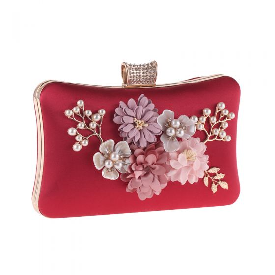 Chic / Beautiful Red Metal Beading Pearl Artificial Flowers Clutch Bags 2018