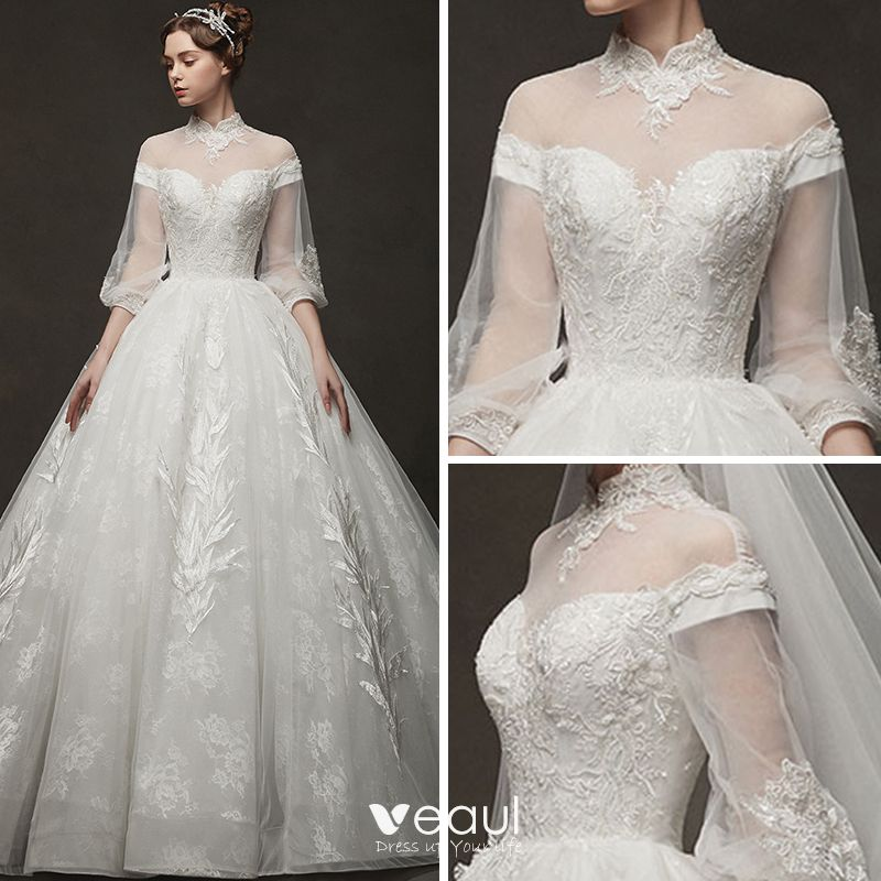 Vintage / Retro Ivory See-through Wedding Dresses 2019 A-Line / Princess High Neck Puffy 3/4 Sleeve Backless Appliques Lace Chapel Train