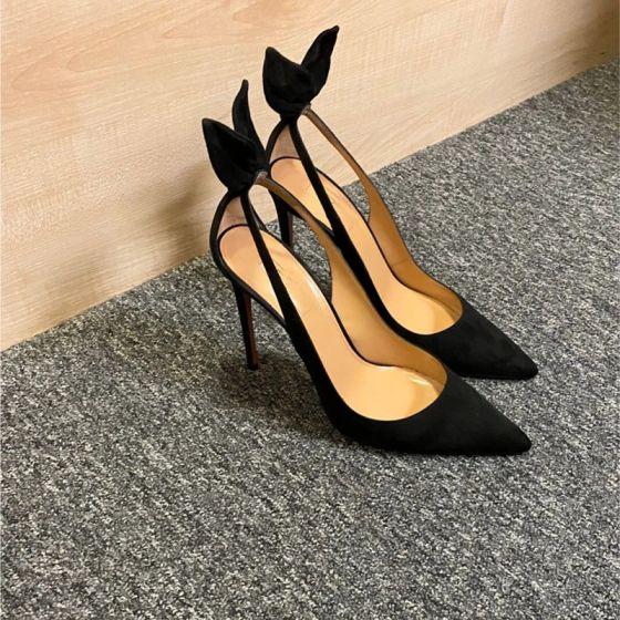 Mode Noire Désinvolte Sandales Femme 2020 10 cm Talons Aiguilles À Bout Pointu Sandales