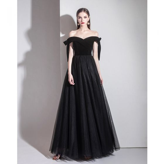 Classy Solid Color Black Evening Dresses  2020 A-Line / Princess Off-The-Shoulder Suede Sleeveless Backless Floor-Length / Long Formal Dresses