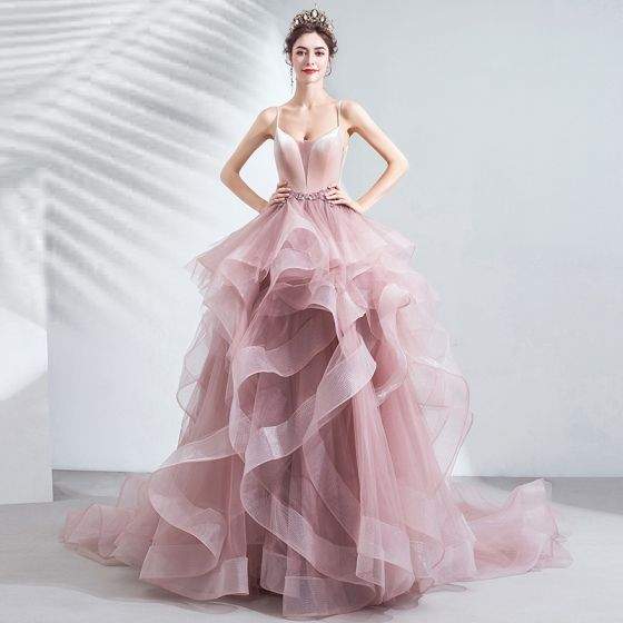 Chic / Beautiful Blushing Pink Cascading Ruffles Prom Dresses 2020 Ball Gown Spaghetti Straps Beading Lace Flower Sleeveless Backless Court Train Formal Dresses
