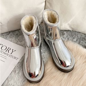 Amazing / Unique Silver Snow Boots 2020 Woolen Patent Leather Casual Outdoor / Garden Winter Flat Round Toe Womens Boots