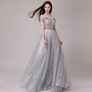 Elegant Silver Evening Dresses  2018 A-Line / Princess Glitter Sequins Metal Sash Shoulders Sleeveless Floor-Length / Long Formal Dresses