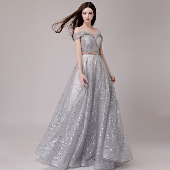 Elegant Silver Evening Dresses  2018 A-Line / Princess Glitter Sequins Metal Sash Shoulders Sleeveless Floor-Length / Long Formal Dresses