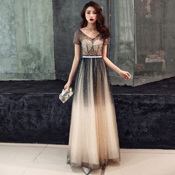 Illusion Navy Blue Gradient-Color Champagne See-through Prom Dresses 2019 A-Line / Princess V-Neck Short Sleeve Sash Beading Glitter Tulle Floor-Length / Long Backless Formal Dresses