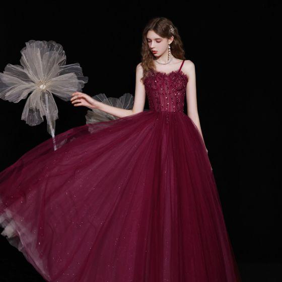 Najlepiej Burgund Zaręczynowa Sukienki Na Bal 2021 Princessa Spaghetti Pasy Bez Rękawów Frezowanie Cekiny Cekinami Tiulowe Długie Wzburzyć Bez Pleców Sukienki Wizytowe