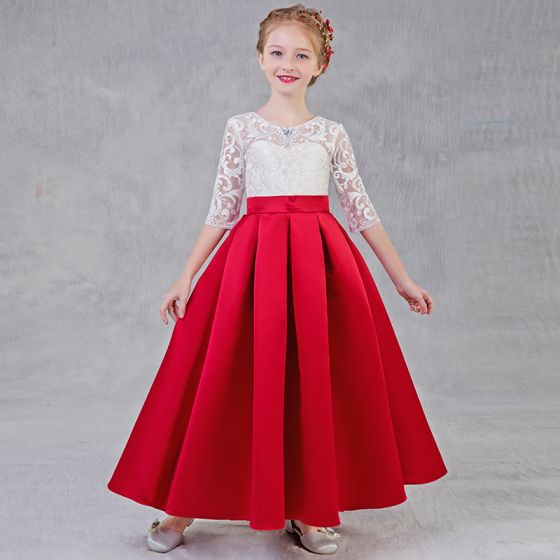 Chic / Beautiful Red Flower Girl Dresses 2018 A-Line / Princess Scoop Neck 1/2 Sleeves Rhinestone Appliques Lace Pierced Floor-Length / Long Ruffle Wedding Party Dresses