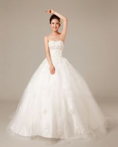Graceful Applique Beading Sweetheart Satin Ball Gown Wedding Dress