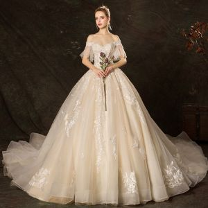 Affordable Champagne Wedding Dresses 2019 Ball Gown Off-The-Shoulder Bell sleeves Backless Appliques Lace Pearl Beading Cathedral Train Ruffle