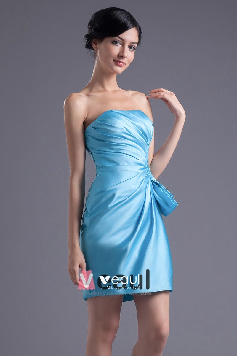 Elegant Thigh Length Strapless Pleated Satin Women Bridesmaid Dress